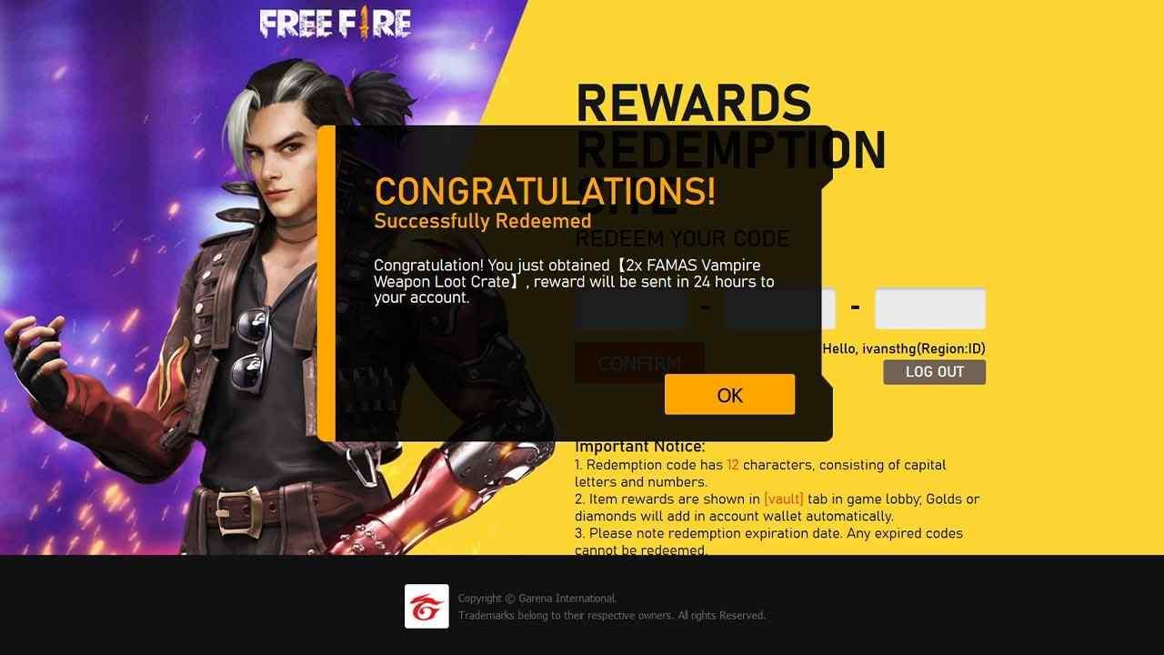 Garena Free Fire December 31 2020 Redeem Code Year End Special Rm Update News